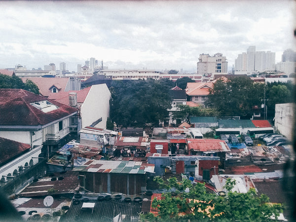 The roofs of communities lined with the roofs of preserved Spanish houses in Intramuros, Manila