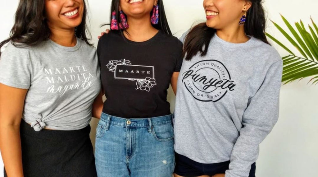 Pinay Collection tees are 100% cotton, heat-pressed, and pre-shrunk for fit, their crewneck sweaters are a 50:50 cotton - polyester blend with a relaxed fit. Both were designed to make unapologetic statements about Filipinx identity