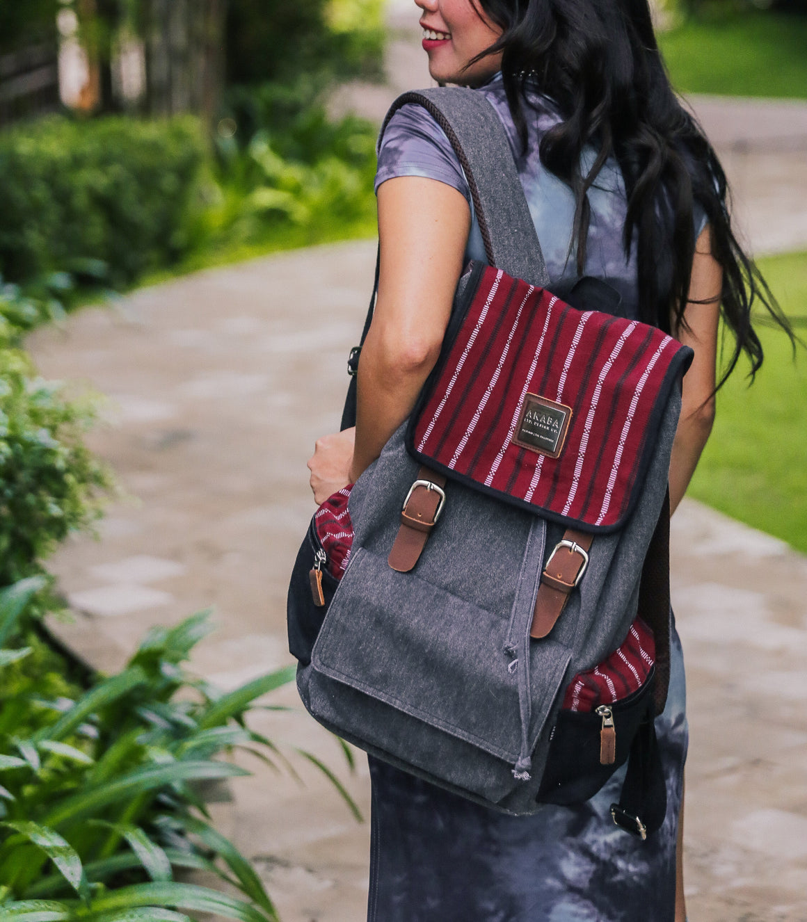 New Alumno Ramit Backpack in Black & Maroon - AKABA