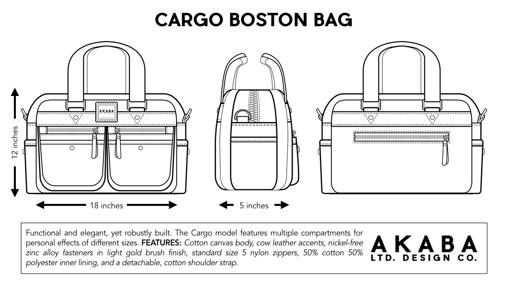AKABA - Tercero Cargo Boston Duffle Bag Dimensions