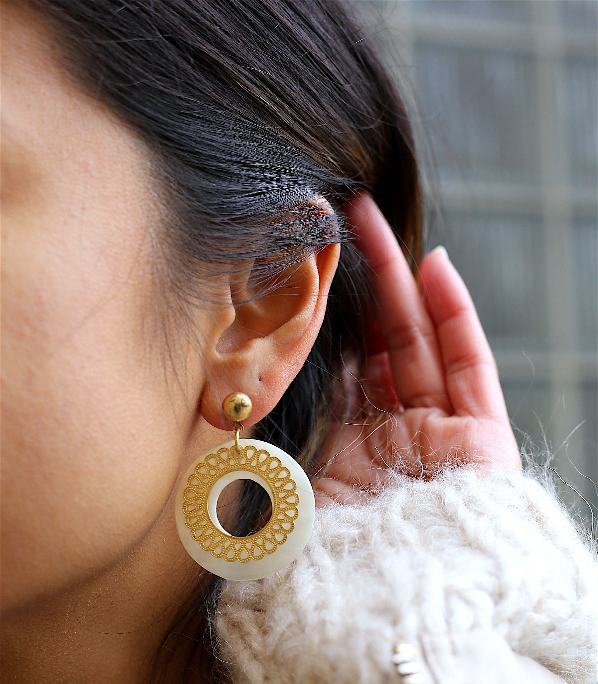 Donut Macabebe Filigree Earrings Close Up 2 - Island Girl Jewelry