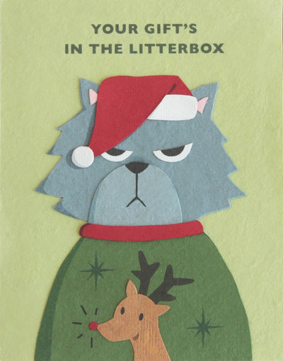 Good Paper - Grumpy Kitty Christmas Handcrafted Card