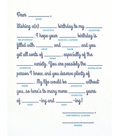 Good Paper - Mad Lib Birthday Handcrafted Card