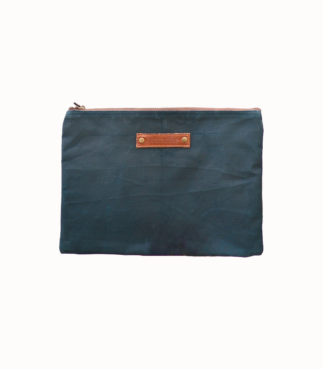 Joey Pouch - Gouache Waxed Canvas - Sea Green