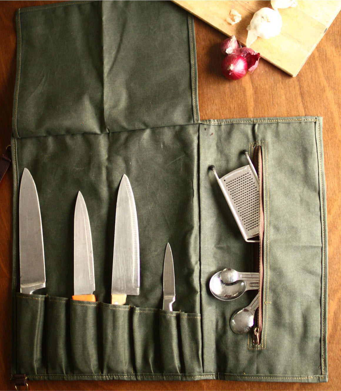 Gouache Waxed Canvas - Tool Rool Kit in Green