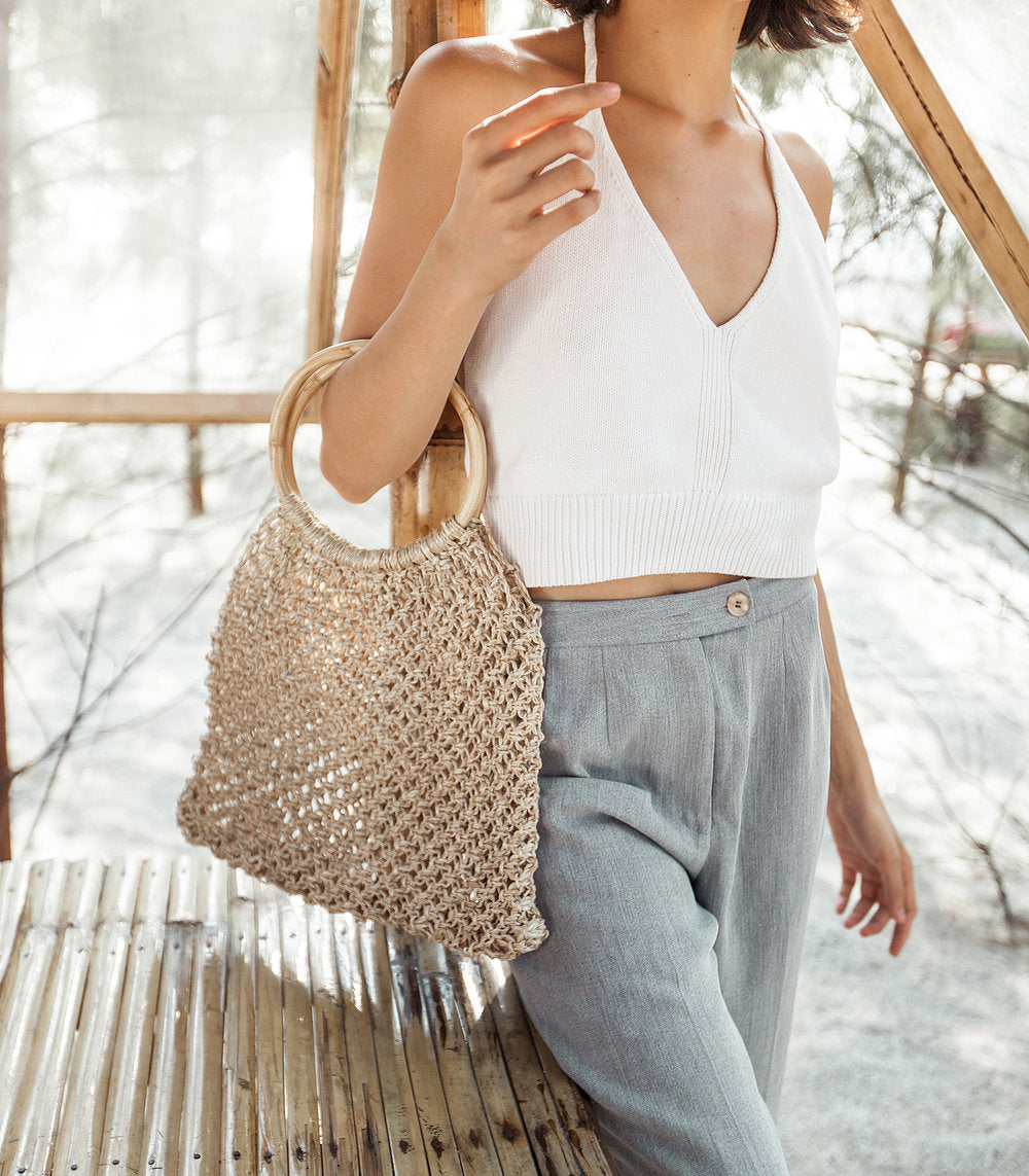 Frances Bamboo Net Tote from Habin with a model