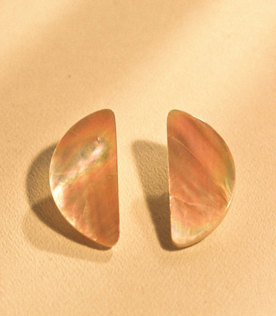Half-Moon Earrings in Brownlip Shell - Island Girl