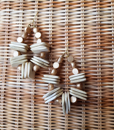 Divine Wood Bead Earrings White - Island Girl