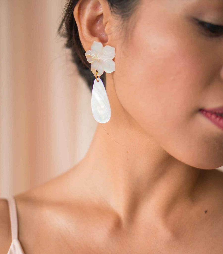 Matte Capiz Earrings - Island Girl