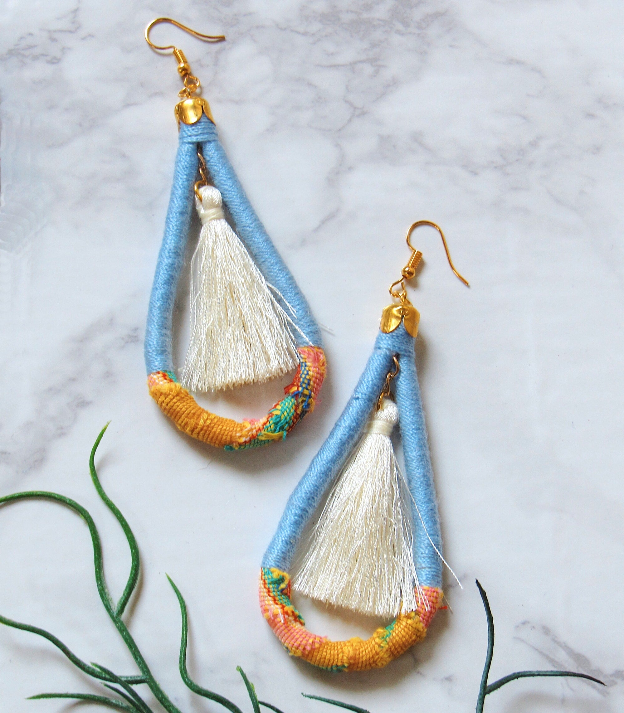 Kantarines Silk Tassel Earrings in Blue
