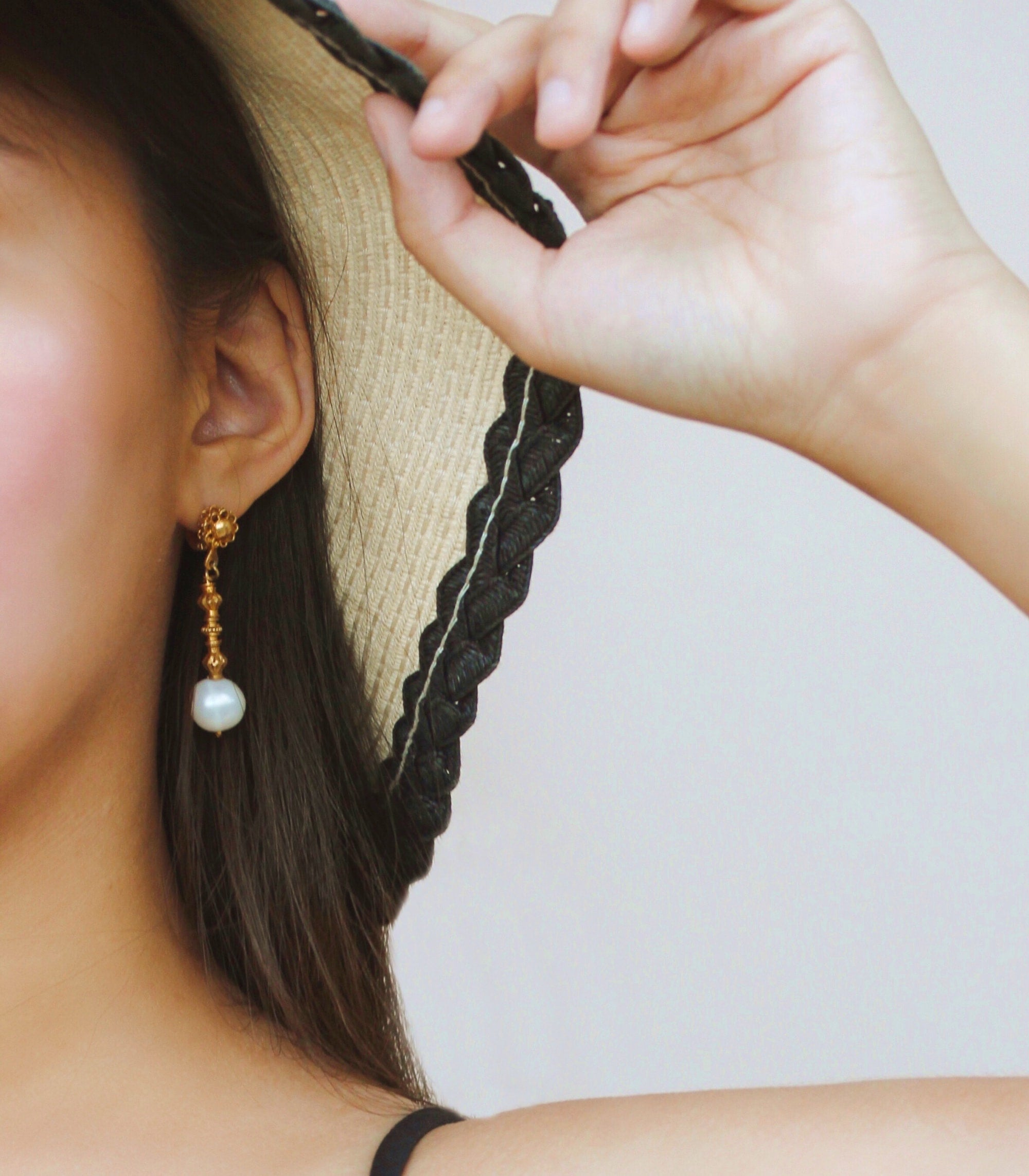Pearl Tambourine Earrings on a model - AMAMI