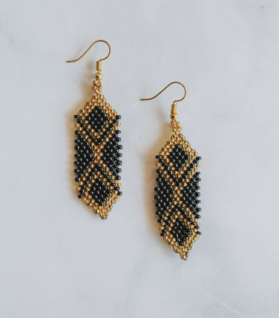K'lung Udi Beaded Shield Earrings  Black Gold - Sesotunawa