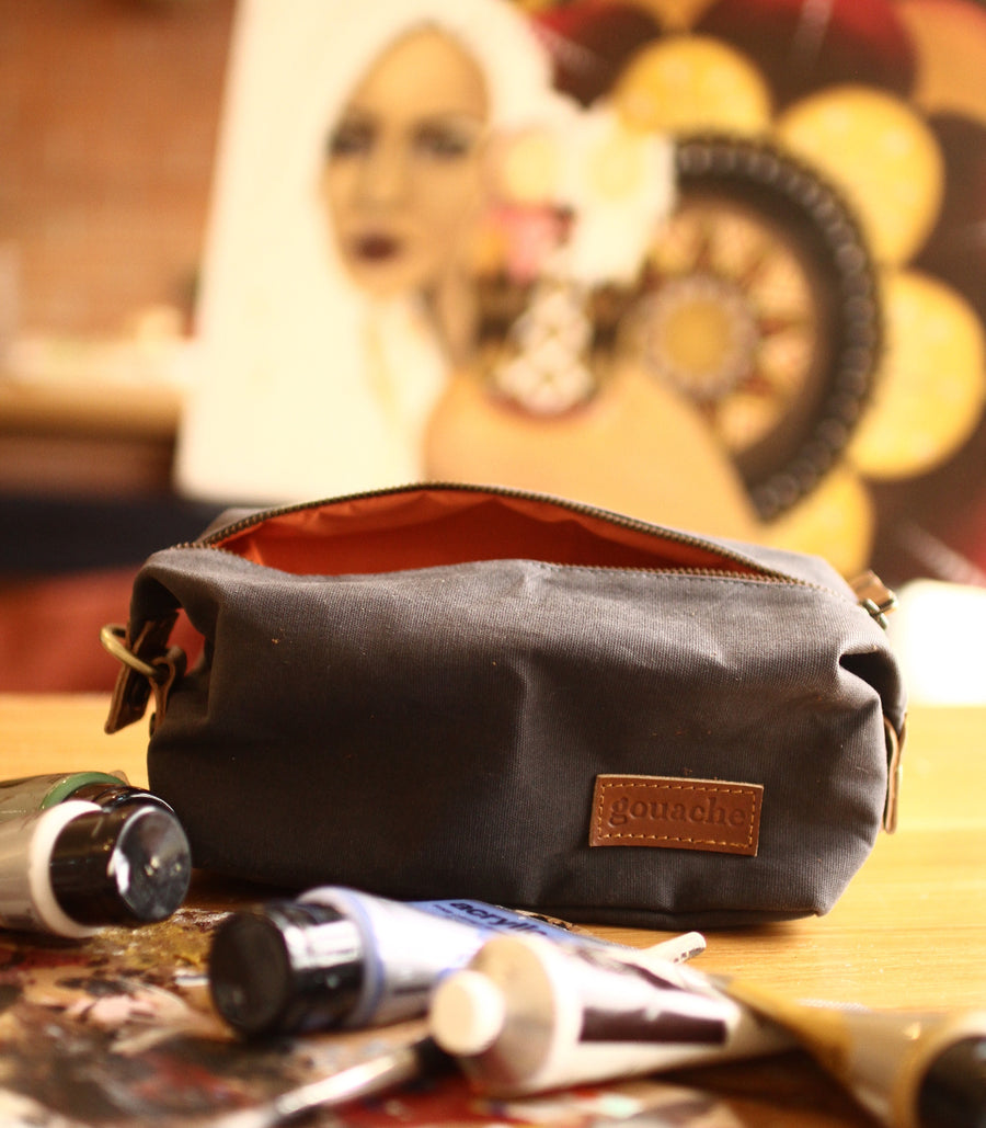 Sweeney Toiletry Bag Asphalt Grey - Gouache Waxed Canvas