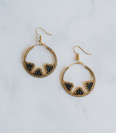 Tboli Hoops Inward Earrings Black Gold - Sesotunawa