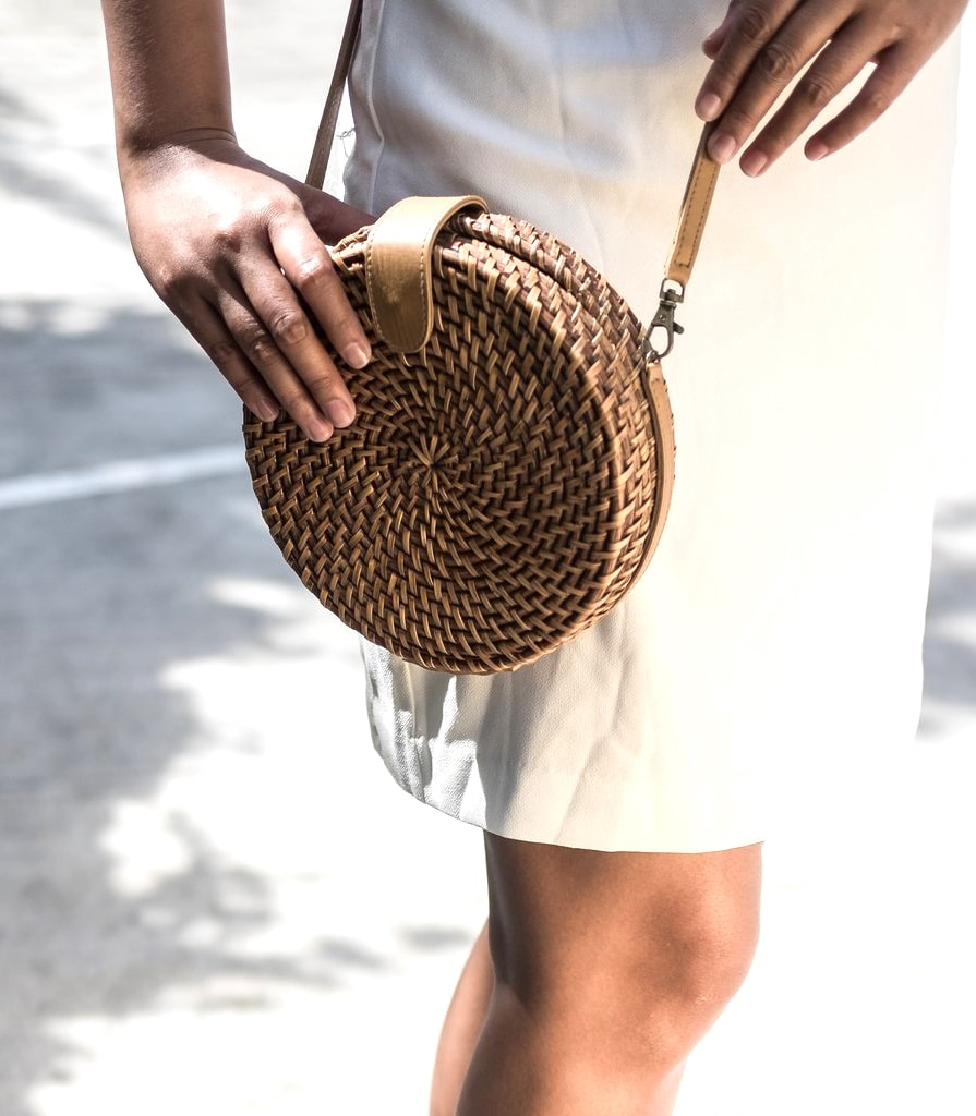 Alicia Rattan Crossbody in Brown - Island Girl