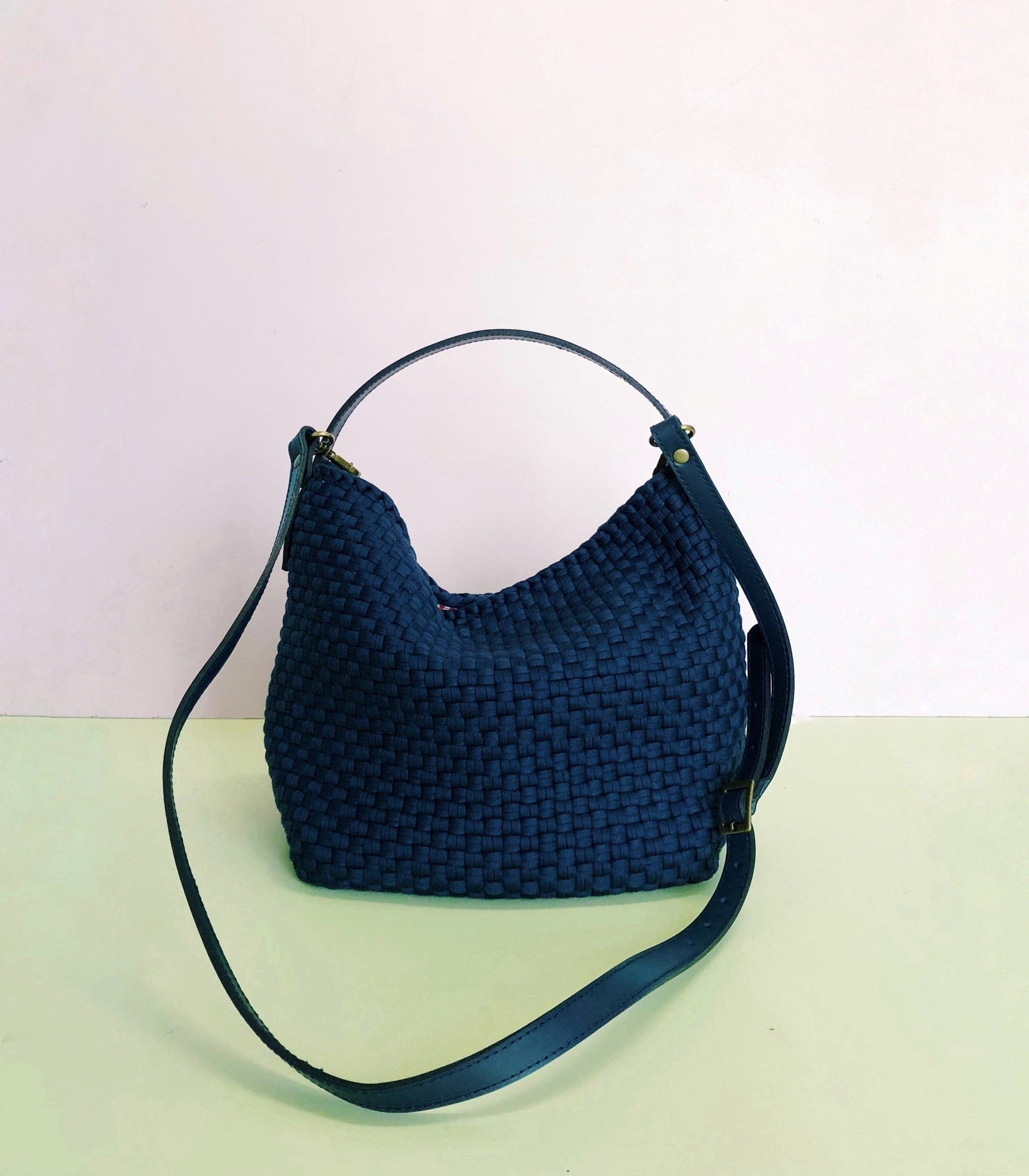Rags2Riches Buslo Mini in Navy with Navy Leather