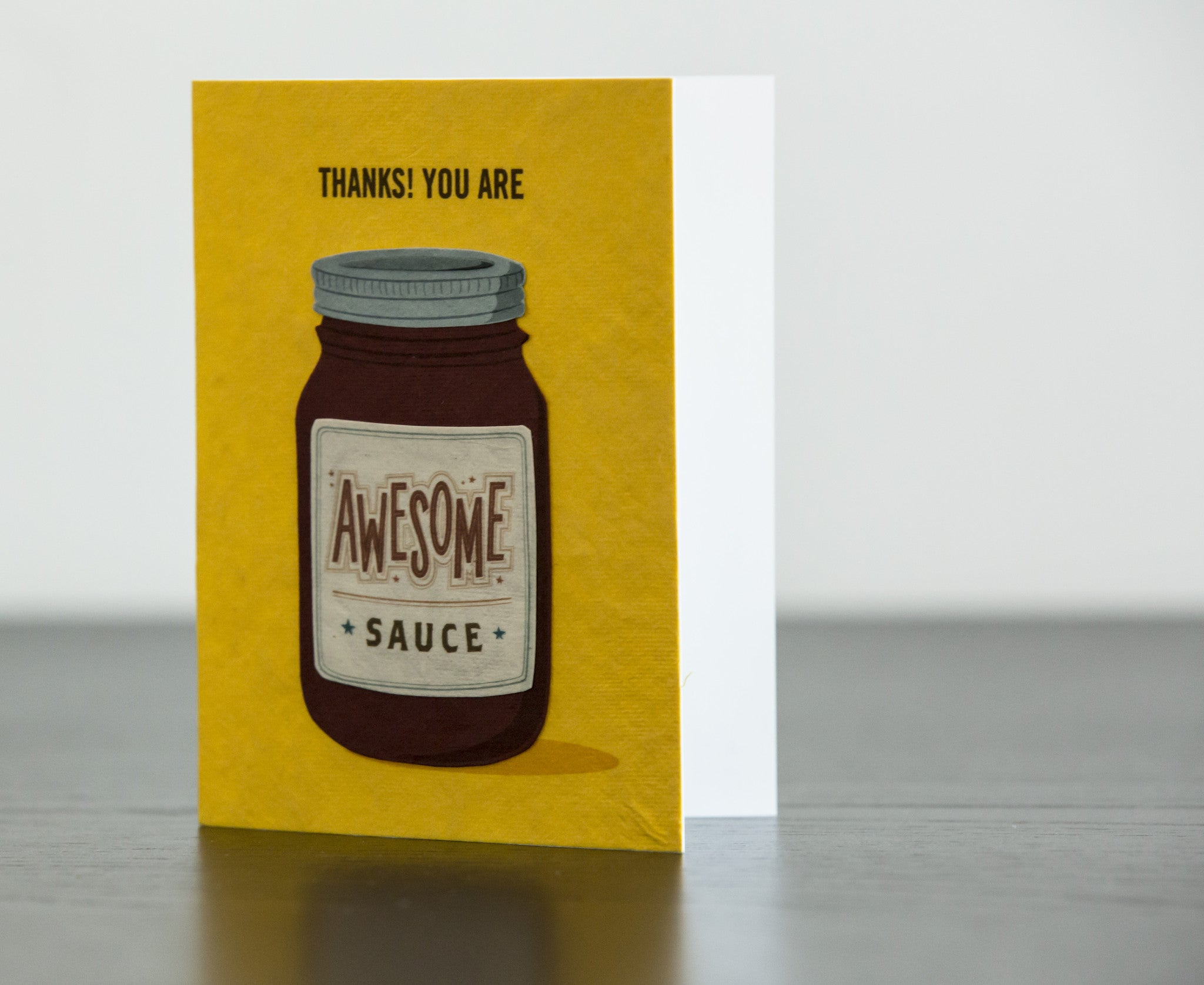 Awesome Sauce Handcrafted Greeting Card on a Table - Good Paper