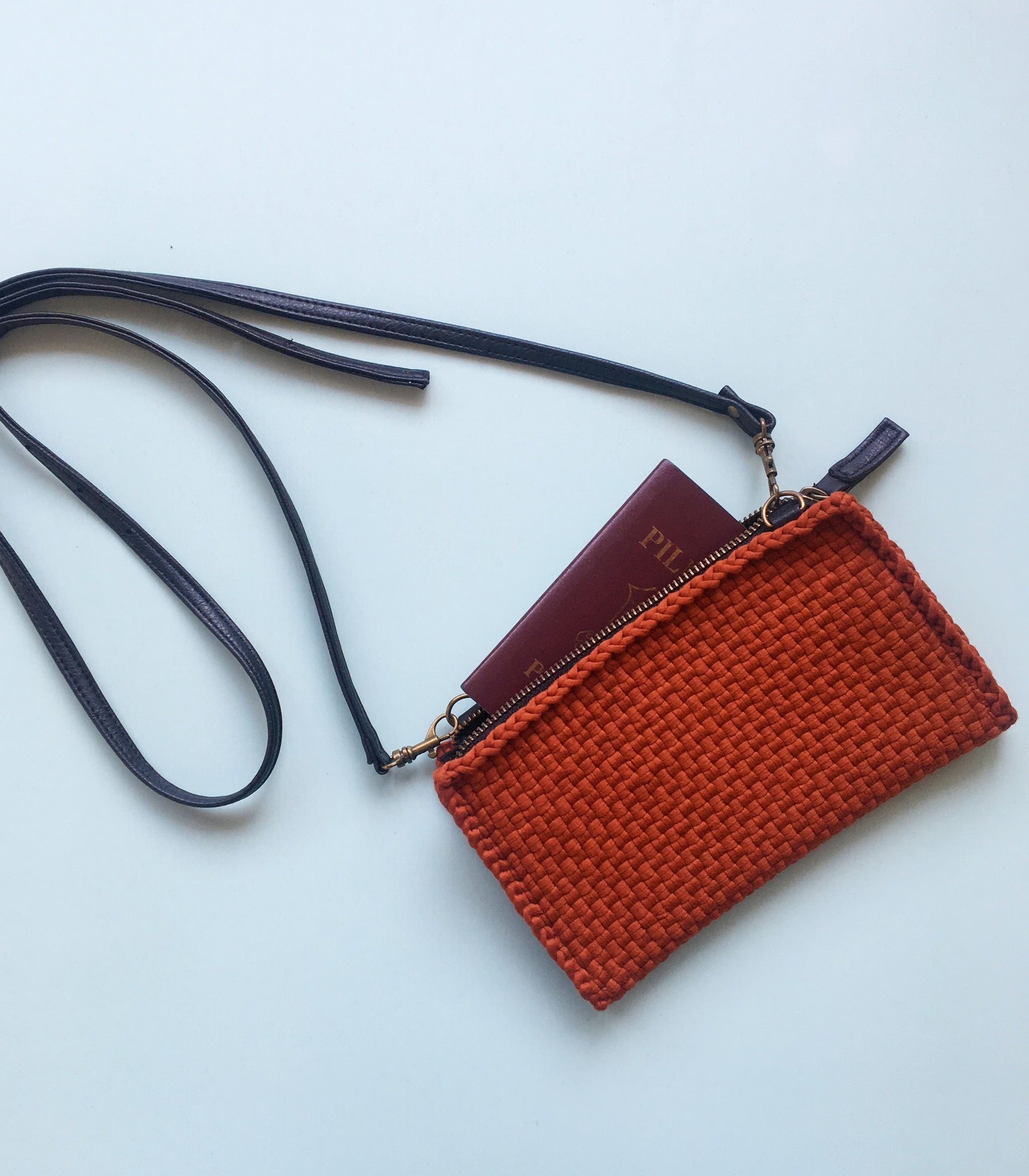 Clarence Travel Sling Bag in Burnt Orange - Rags2Riches