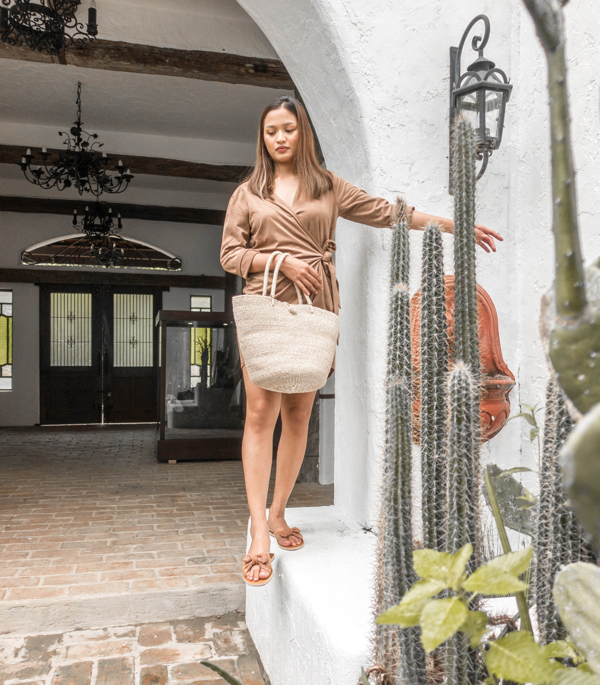 Kamila Tote Bag in Natural Colour by Habin with a model