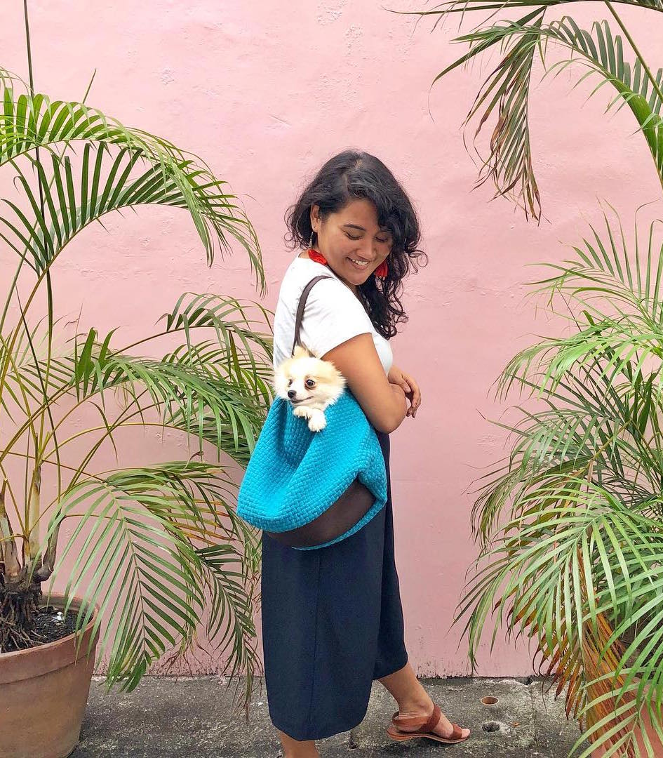 Buslo Hobo Bag in Turquoise with a model - Rags2Riches