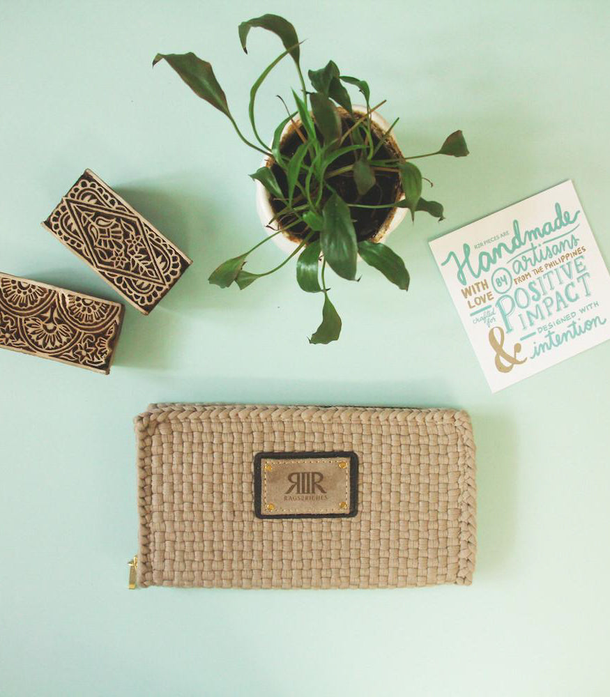 Reese Wallet in beige model photo - Rags2Riches