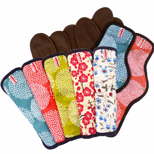 Organic Cotton Cloth Menstrual Pad Set: 5 Snap-on + 2 Maxi Pads Special Price $115.99 Set Price - SckoonCup
