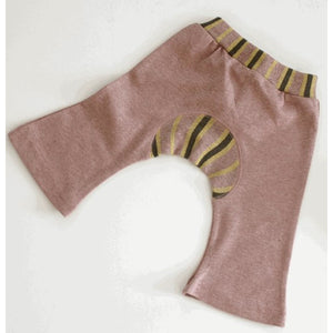 Organic Cotton Baby Pants - Jacquard Monkey Pants Sand Rose - SckoonCup