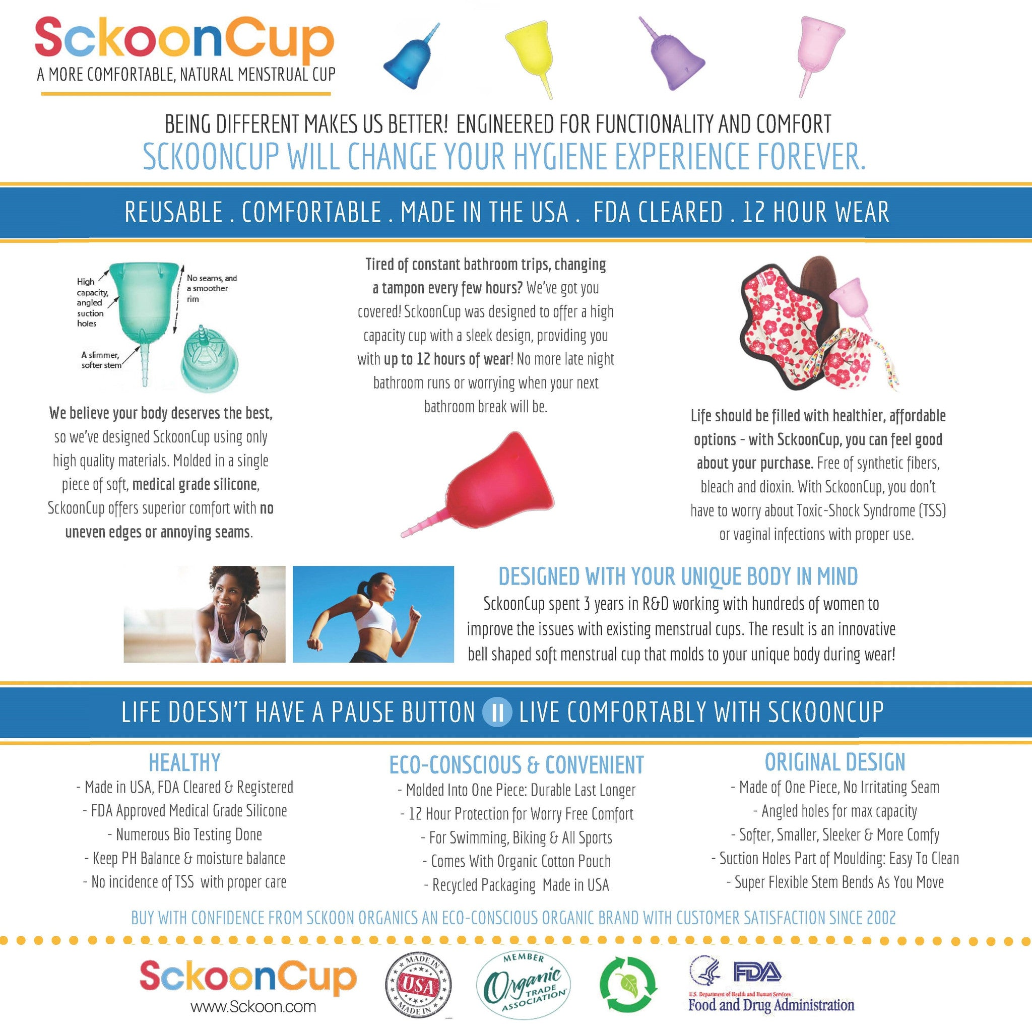 ... SckoonCup Made in USA - FDA Registered - Plus Organic Cotton Pouch-  Sckoon Menstrual Cup ...