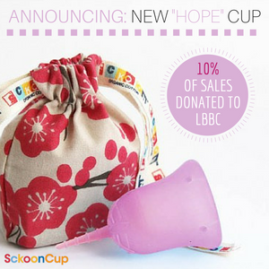 "SckoonCup BEGINNER CHOICE - Made in the USA - FDA Approved - Organic Cotton Pouch - Menstrual Cup -  ""Hope"" <font color=#fa2cc9><b>Join Our Breast Cancer Awareness Initiative </font color=#fa2cc9></b> - SckoonCup"