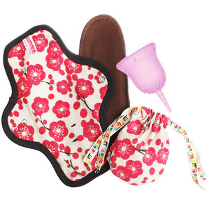 SCKOONCUP - MENSTRUAL CUP AND ORGANIC CLOTH PAD SET - PINK HOPE - SckoonCup