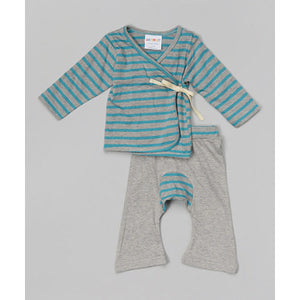 Organic Cotton Baby Layette Kimono And Pants Set Green-tea/Gray Stripes - SckoonCup