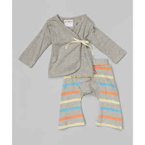Organic Cotton Baby Layette Kimono And Pants Set Bliss Stripes - SckoonCup