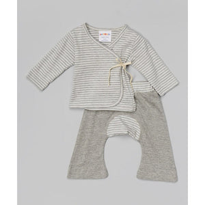 Organic Cotton Baby Layette Kimono And Pants Set Serenity Stripes - SckoonCup