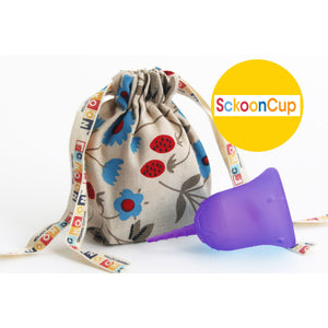 "SckoonCup BEGINNER CHOICE - Made in the USA - FDA Approved - Organic Cotton Pouch - Menstrual Cup - Purple ""Zen"" - SckoonCup"