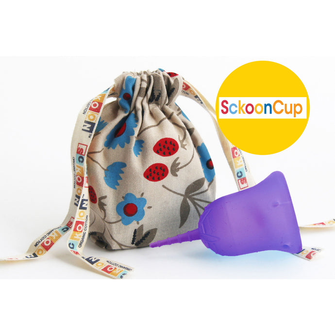 SckoonCup BEGINNER CHOICE - Made in the USA - FDA Approved - Organic Cotton Pouch - Menstrual Cup - Purple