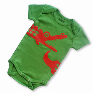 Sckoon Organic Cotton Short Sleeves Red Crocodile Babybody - Dark Citron - SckoonCup