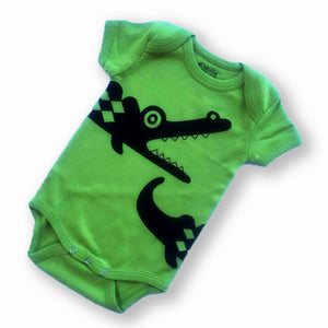 Sckoon Organic Cotton Short Sleeves Black Crocodile Babybody -Foliage Green - SckoonCup