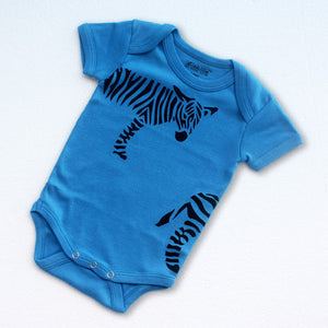 Sckoon Organic Cotton Short Sleeves Zebra Babybody- Malibu Blue - SckoonCup