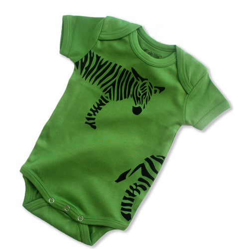Sckoon Organic Cotton Short Sleeves Black Zebra babybody- Foliage Green - SckoonCup