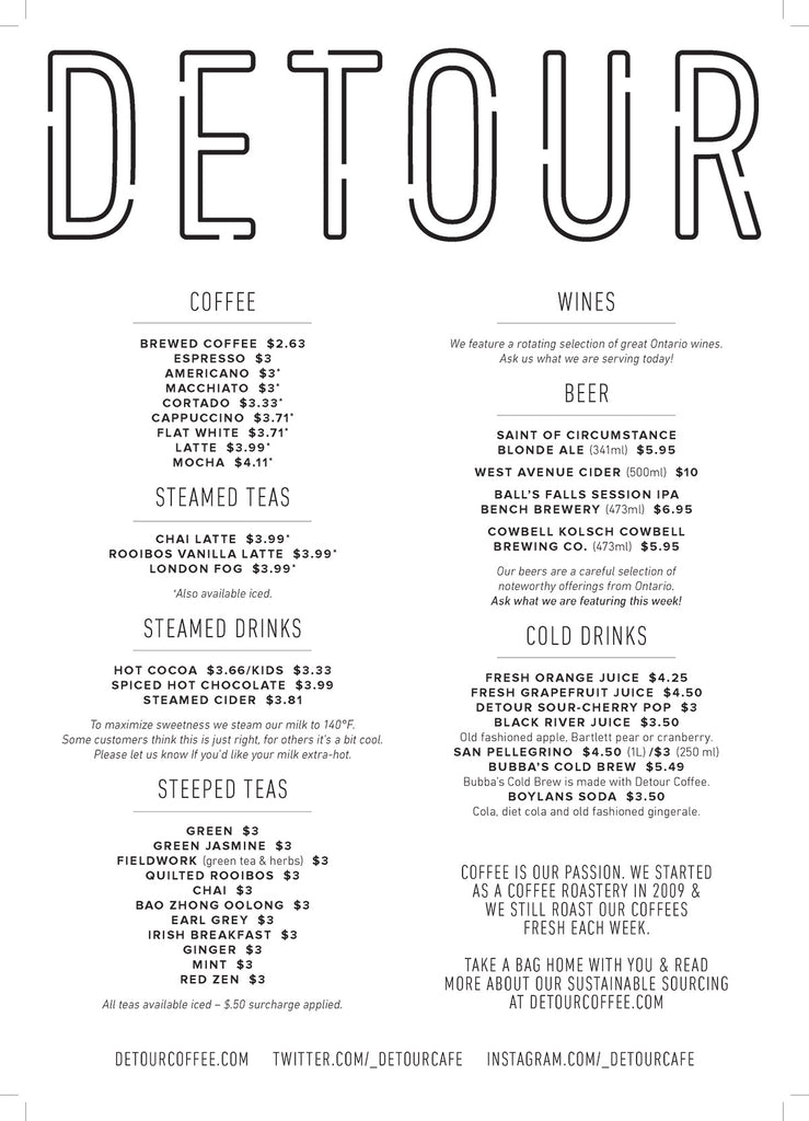 Detour Coffee Roasters Cafe Menu - Drinks