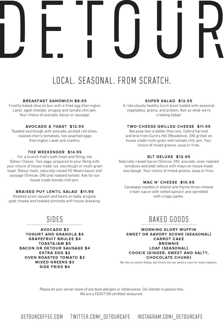 Detour Coffee Roasters Cafe Menu - Food