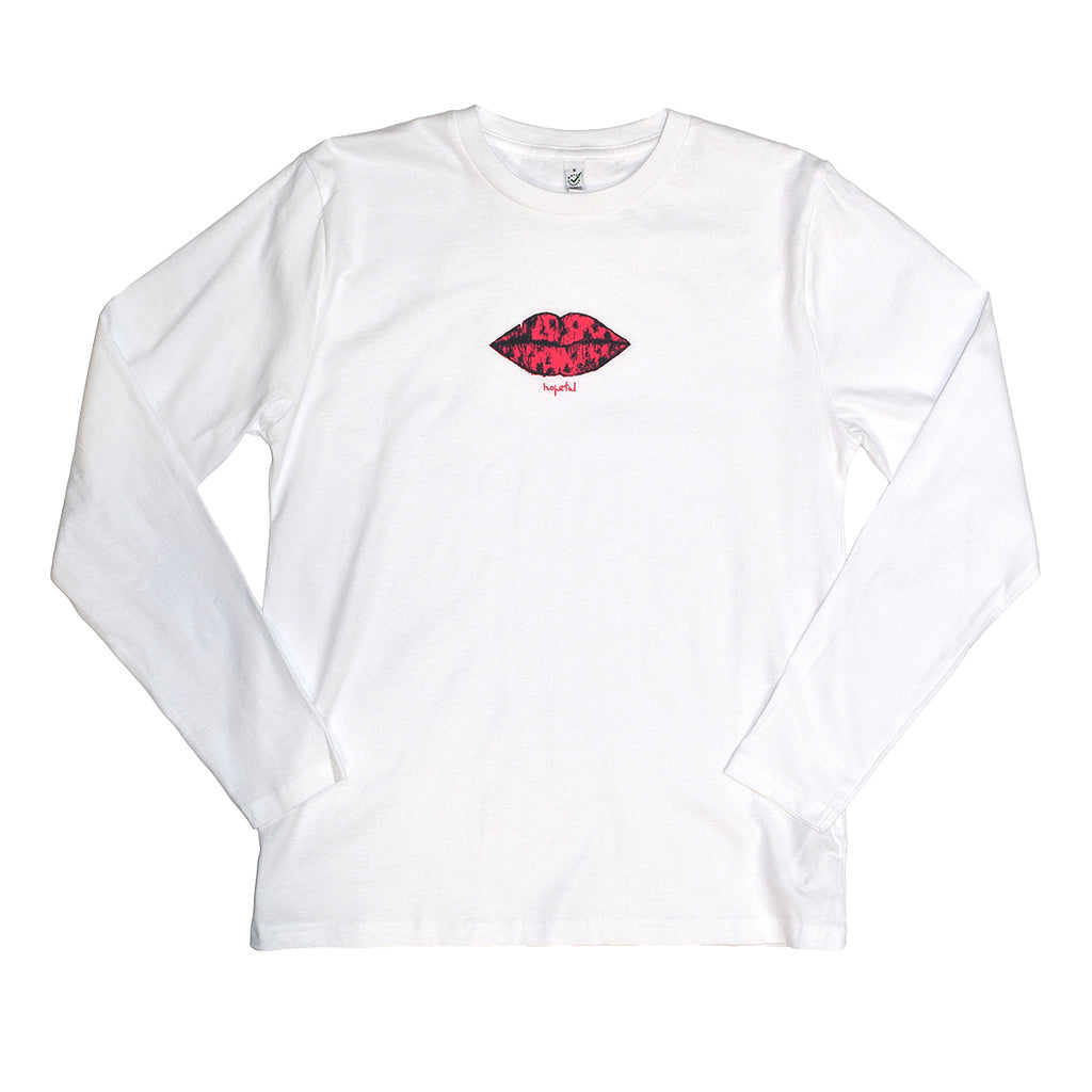 Zin V.'s Money Lips Organic Long Sleeve Tee // White