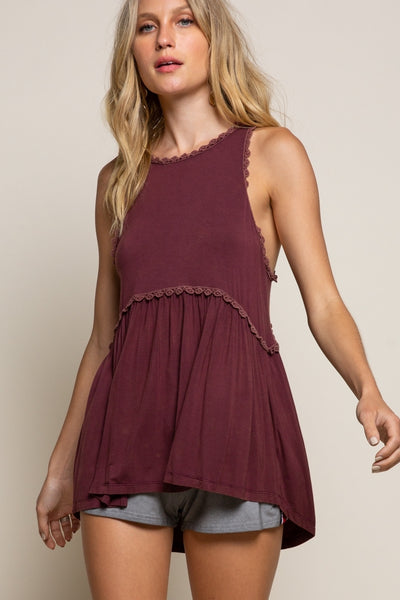 Pol Clothing Sweet and Simple Babydoll Knit Top - Burgundy