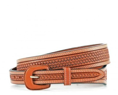Men's Tapered Basket Weave Brown Belt
