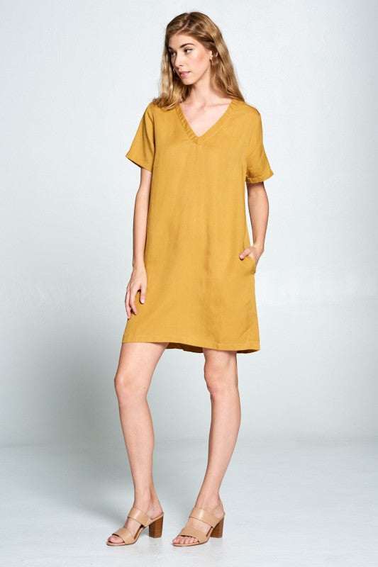 Mustard Tencel V Neck Shift Dress