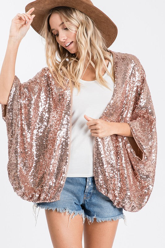 Rose Gold Sequin Cardigan Overlay