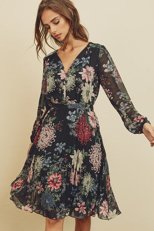 Floral Swing Button Front Pleated Dress