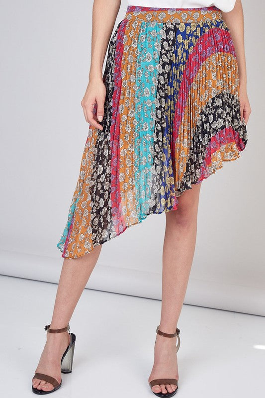 Colorful Asymmetric Pleated Women's Skirt