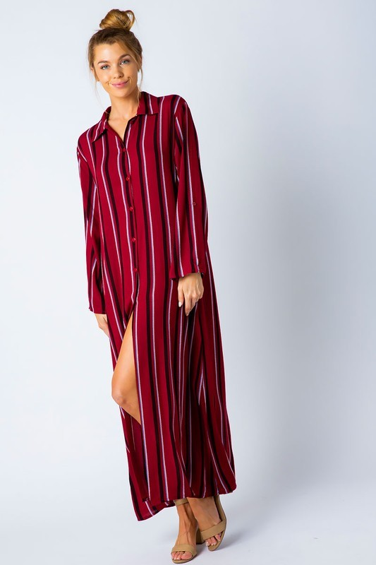 Faith Apparel Berry Stripped Women's Maxi Dress