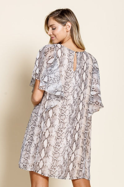 Faith Apparel Natural Flutter Sleeve Chiffon Women's Dress